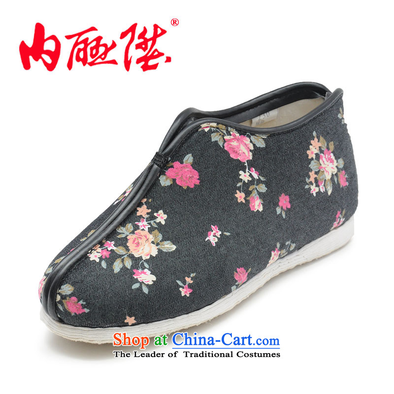 Inline l female cotton shoes hand-thousand-layer encryption for Cotton Denim bottom stylish casual women, cotton shoes of Old Beijing 8285A mesh upper black spend 40