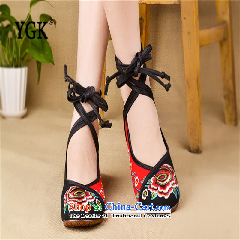 Ygk counters genuine autumn New breathable mesh upper with old Beijing leisure embroidered shoes single shoe women shoes 4185 deep black 37