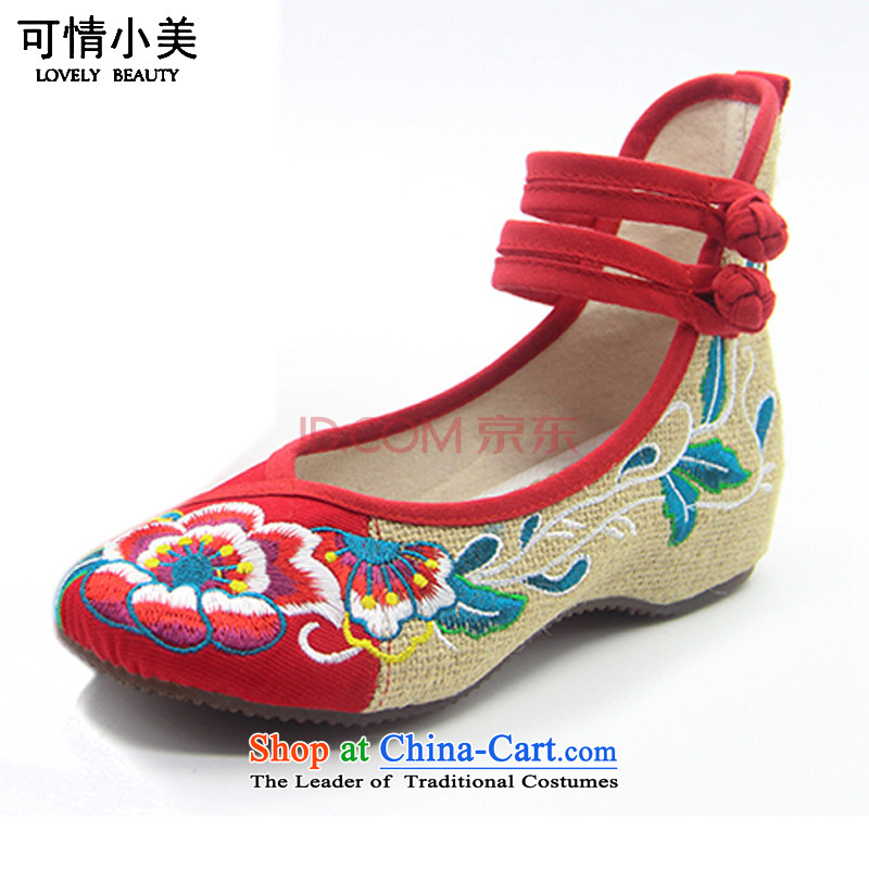 Is small and the ethnic cotton linen anti-slip beef tendon bottom embroidered shoesZCA130Red39