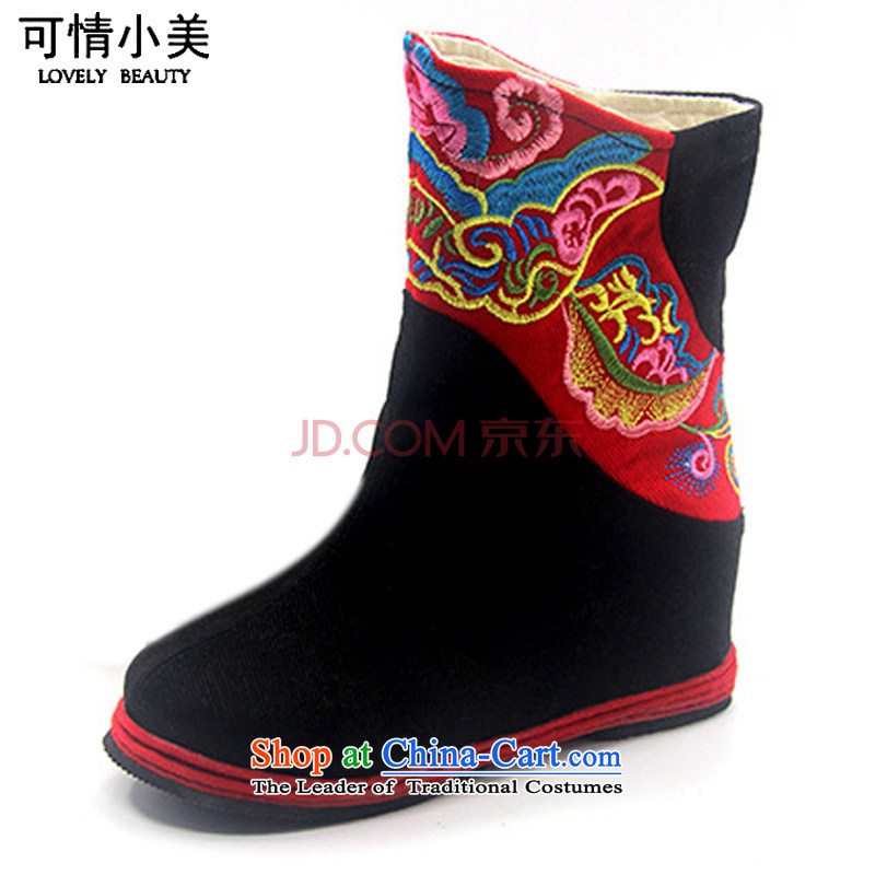 Is small and the old Beijing mesh upper for children of ethnic embroidery single ZCA06 boots black 37