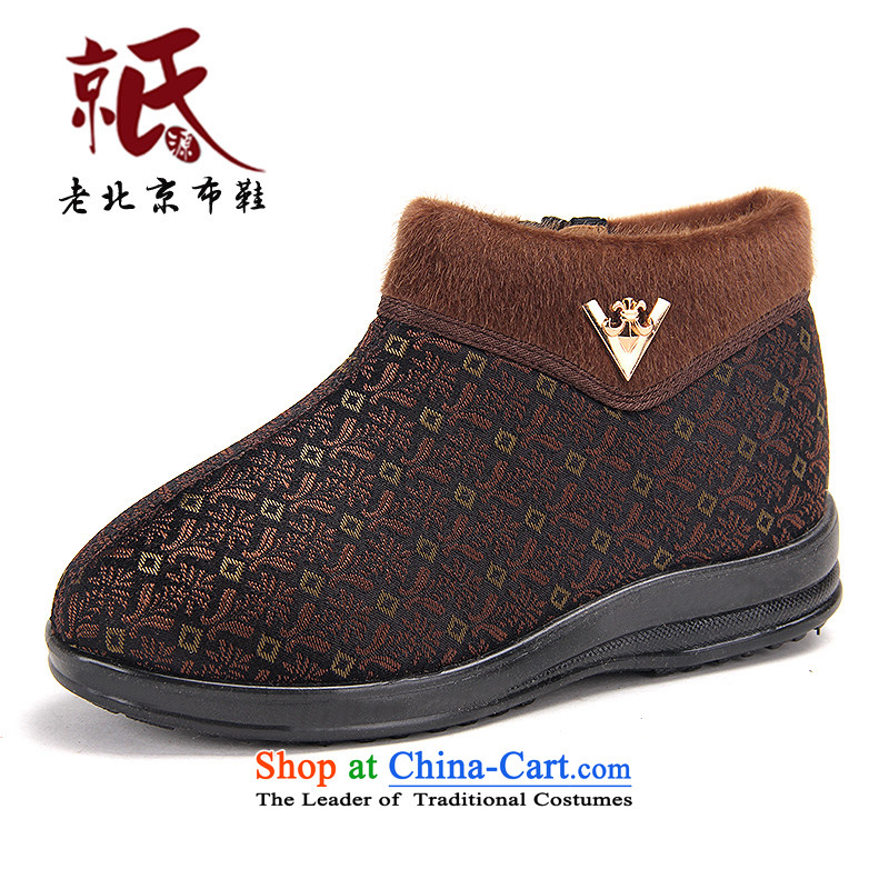 New Old Beijing mesh upper with soft, non-slip in female older mother cotton shoes winter new plus lint-free warm-grandmother shoes01577 coffee37