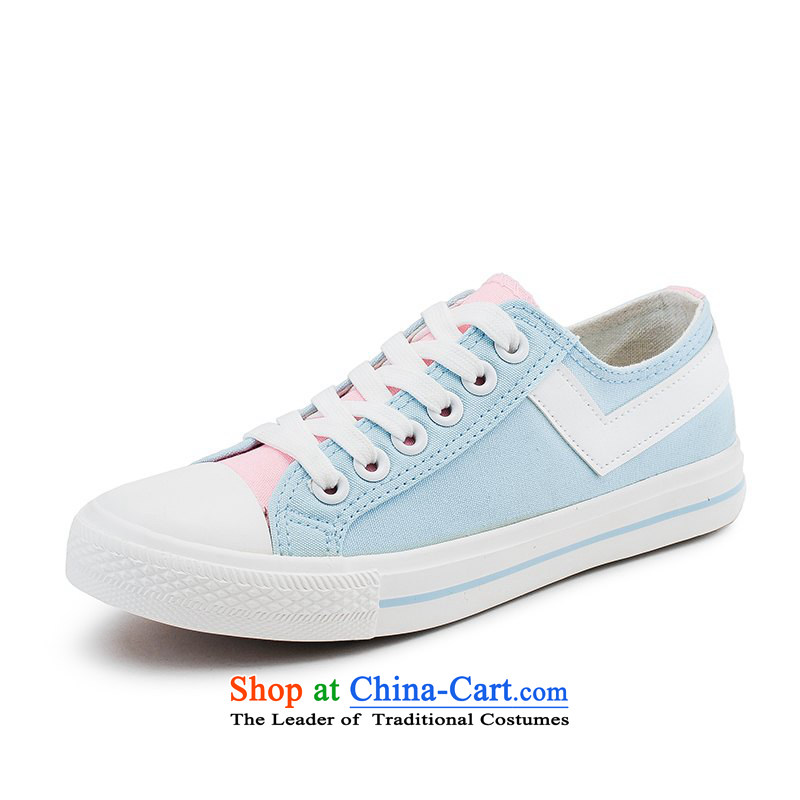The autumn winter Korean trend line Ms. canvas shoes low winter Fashion Shoes mesh upper Winter Female students cotton shoes sweet girls princess shoes mesh upper Blue 35