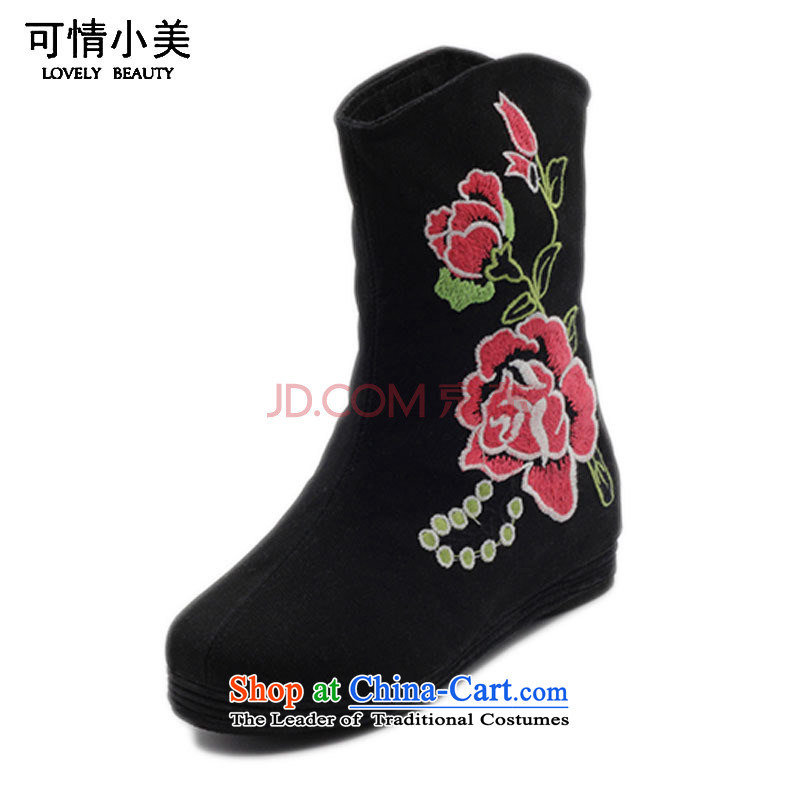 Is small and the ethnic peony embroidered shoes increased within the girl boots ZCA, H02 Black 36
