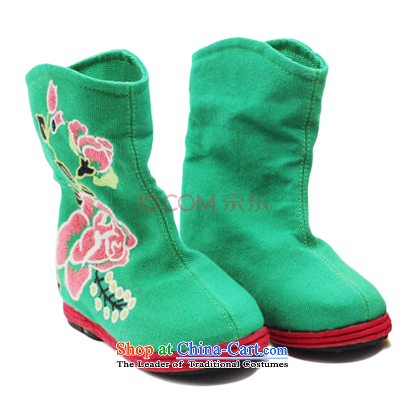 Is small and the old Beijing shoes of ethnic peony embroidery increased within the girl bootsZCA, H0236 is a small green-mi (LOVELY BEAUTY , , , shopping on the Internet