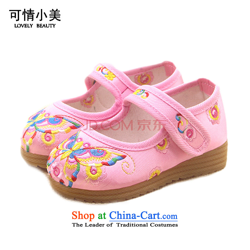 Is small and the Beijing Children shoes embroidered thick beef tendon of ethnic mesh upper ZCA020 pink 18