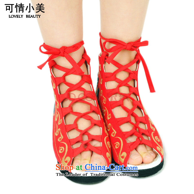 Is small and the bottom layer of thousands of ethnic embroidered with characteristics of female sandals cotton embroidered shoes ZCA012 Red 38