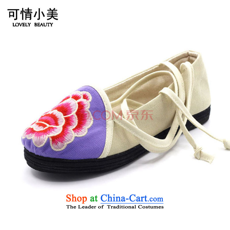 Is small and the Beijing National wind embroidery thousands mesh upper layer bottom womens single shoe ZCA036 core white 35