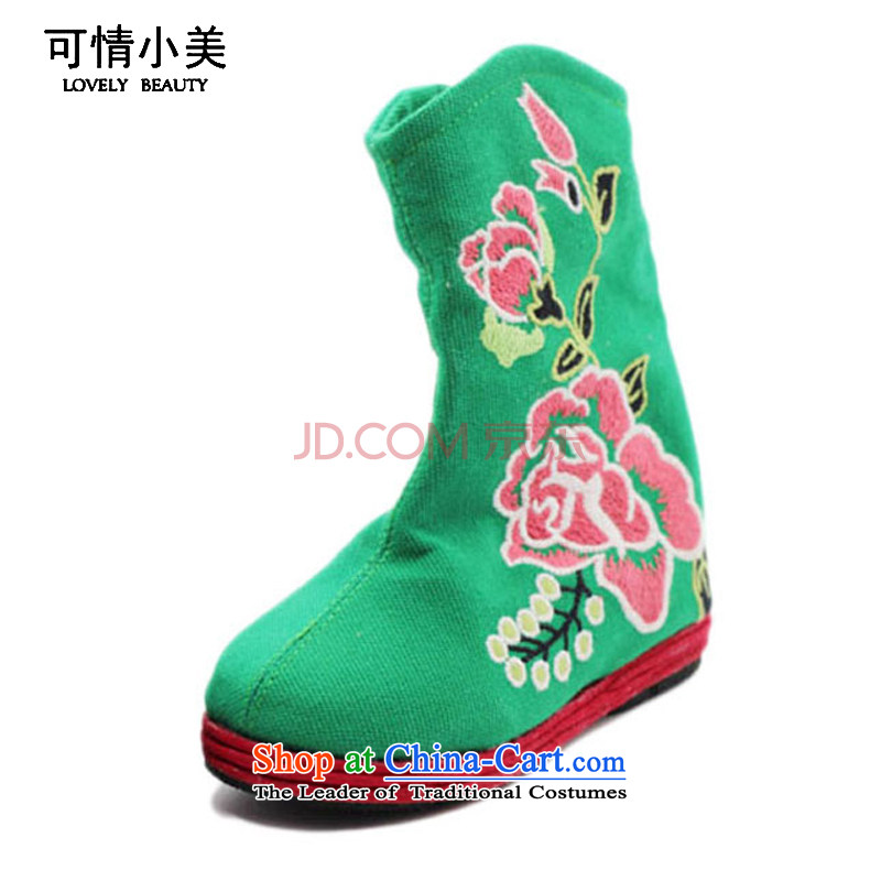Is small and the ethnic pure cotton cloth shoes thousands of children bootsZCA03 embroidered groundGreen21