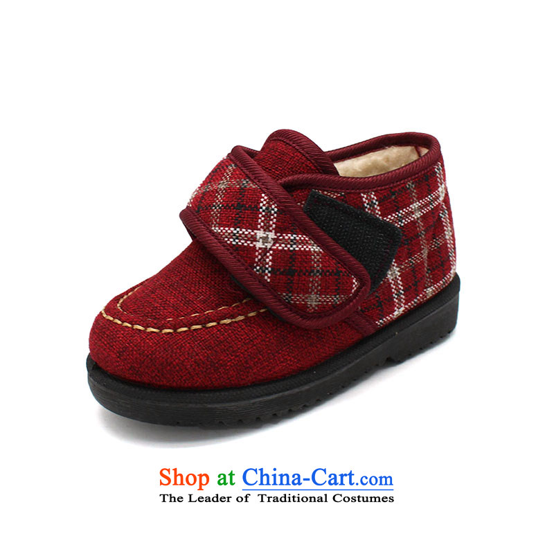 The Chinese old step-young of Ramadan Old Beijing mesh upper winter new_ child cotton shoes anti-slip warm baby shoesB72-a801 Kids shoes red26 _18cm code