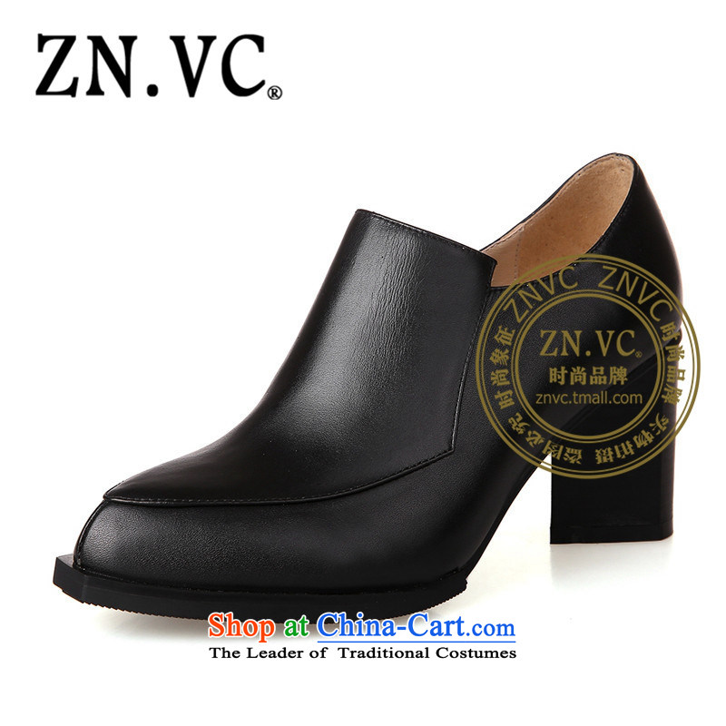 The autumn 2015 western deep znvc port shoes new single women shoes rough the the high-heel shoes simple black Fourth quarter 8420 Black 42