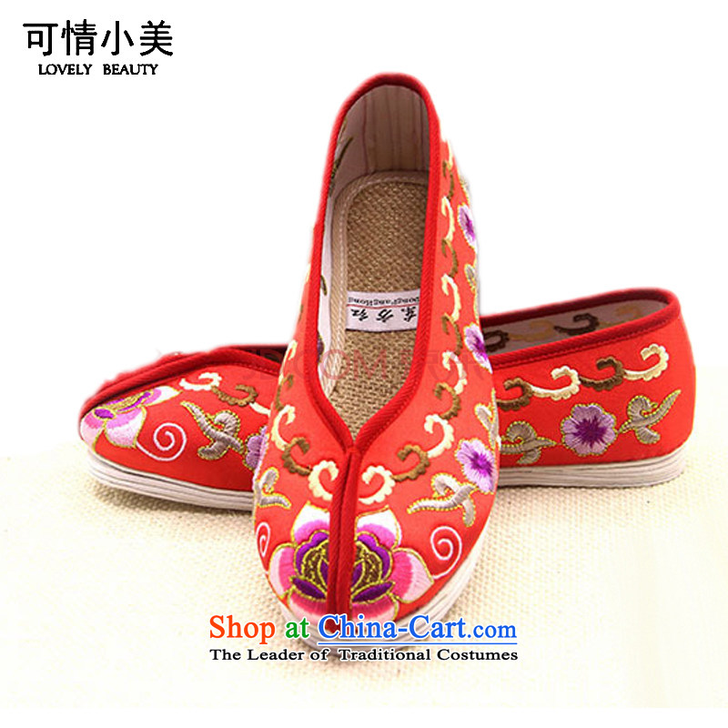Is small and the old Beijing mesh upper end of thousands of gold satin shoes ZCA801 ethnic Single Red 39