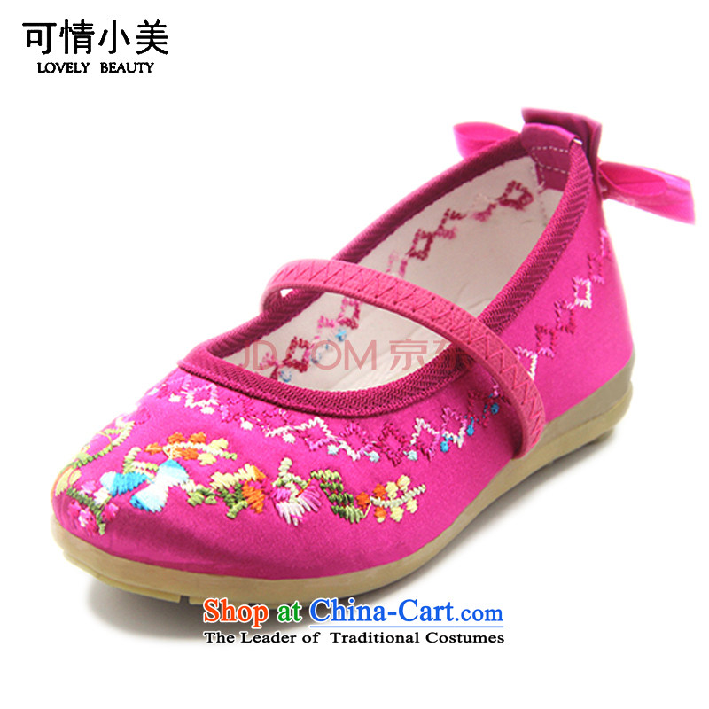 Is small and the beijing children's dance of ethnic fabric shoes comfortable beef tendon backplaneZCA206Cherry Red16