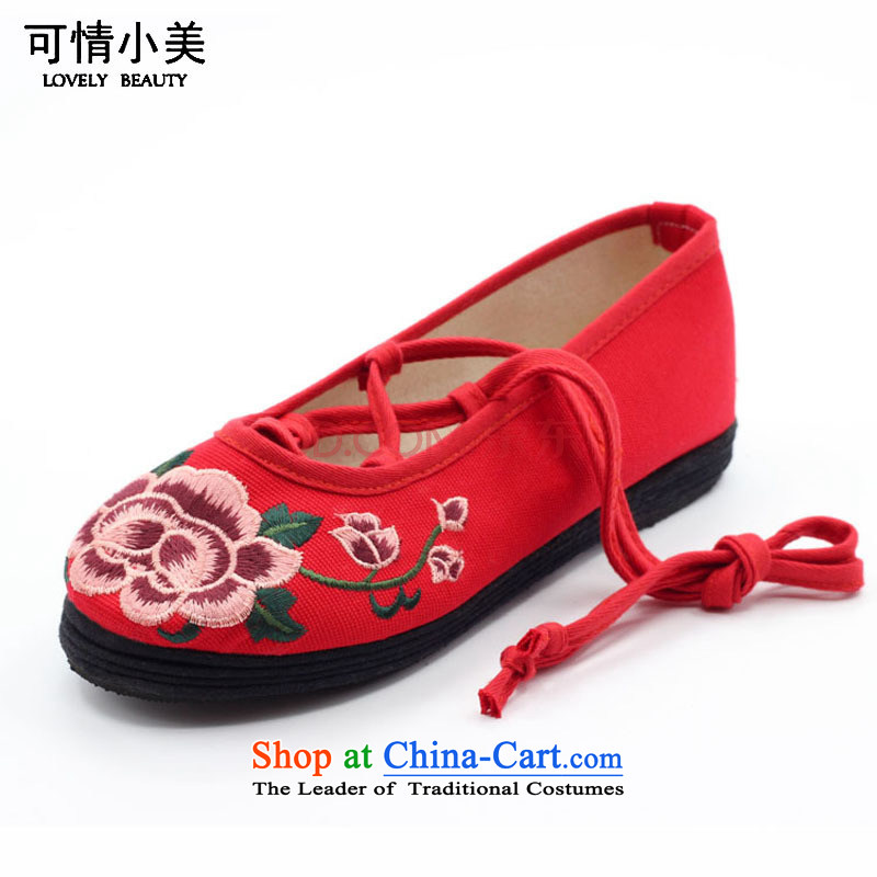 Is small and the old Beijing Mei mesh upper ethnic peony embroidery Pure Cotton Women's Shoe ZCA0312 Red 39