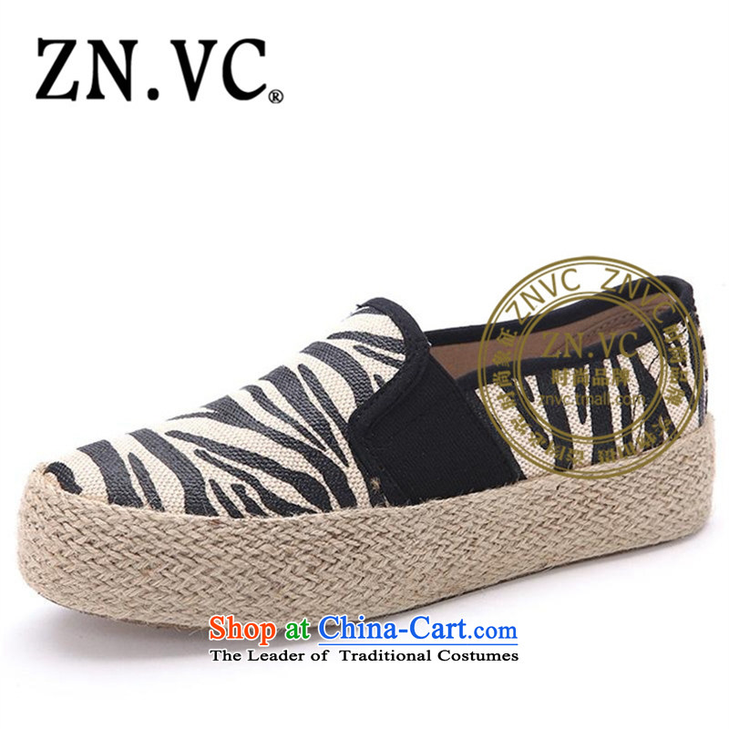 The new 2015 Autumn znvc shoes bottom cake mesh upper fall ethnic women shoes movement flat bottom leisure shoes 4616th black Leopard37