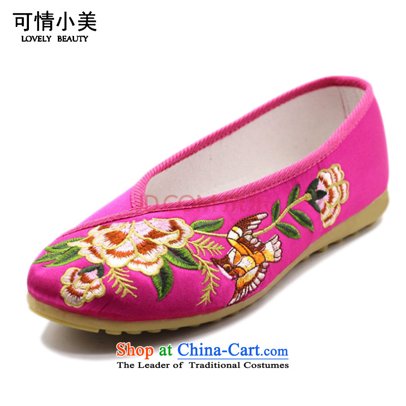 Is small and the Beijing National wind peony embroidery mesh upper beef tendon bottom womens single shoe ZCA002 black 38
