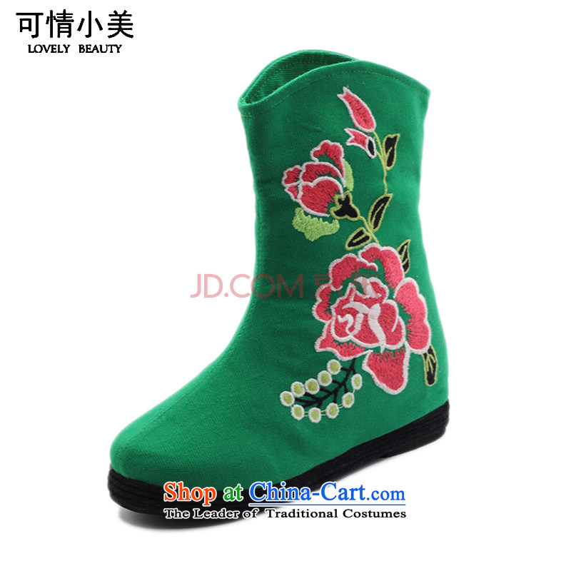 Is small and the Beijing National wind peony embroidered shoes increased within the girl bootsZCA, H02Green37