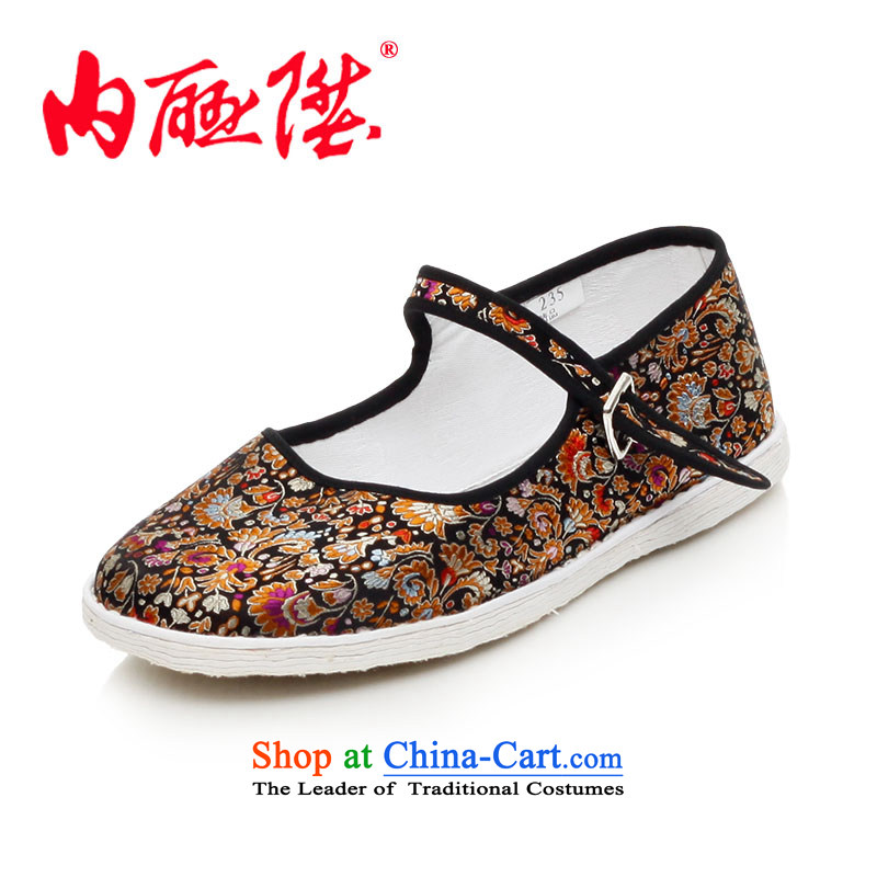 Inline l women shoes mesh upper hand-thousand-layer bottom edge of brocade coverlets generation smart casual old Beijing8629A mesh upperblack suit37