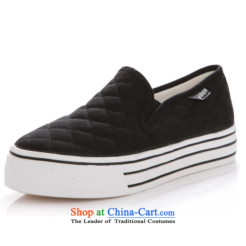 The first step the lazy students shoes, thick cake low leisure canvas shoes Korean female shoes black 37