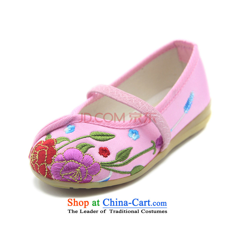 The end of the light of ethnic children beef tendon bottom embroidered dance performances home shoes聽T-06 ZCA,聽pink聽20
