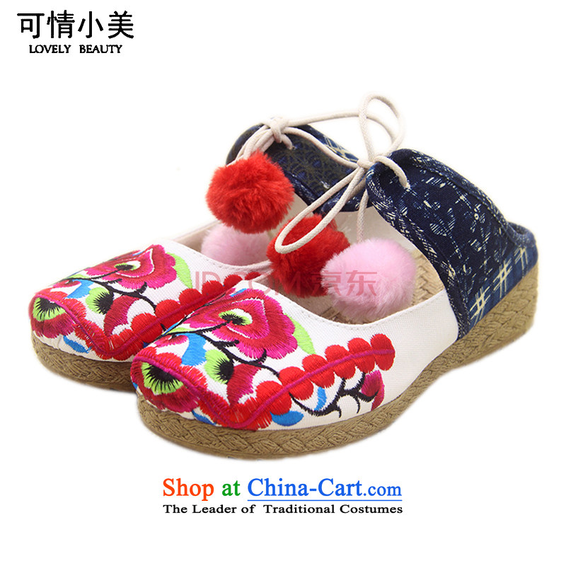 The end of the light of ethnic embroidered slippers聽ZCA666 Baotou female聽Dark Blue聽39