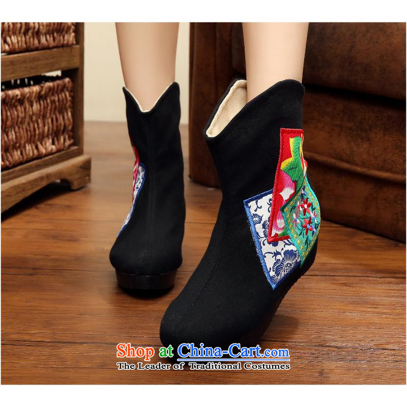 2015 Autumn and winter embroidered shoes, lint-free, plus 5 cm thick boots up with slope within embroidery ethnic bootie kit pin female winter boots xhx black 35