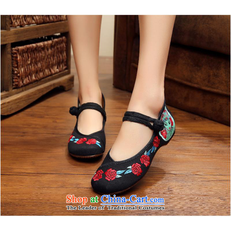 2015 Autumn and winter new rose embroidered shoes with slope plate put to subsidize embroidery detained single shoes, casual dancing-shoes xhx square black 39