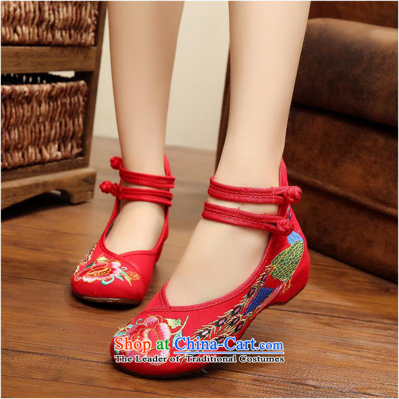 2015 Autumn and winter new embroidered shoes with embroidered girls peacock slope single shoe mesh upper Dance Shoe xhx Red 34