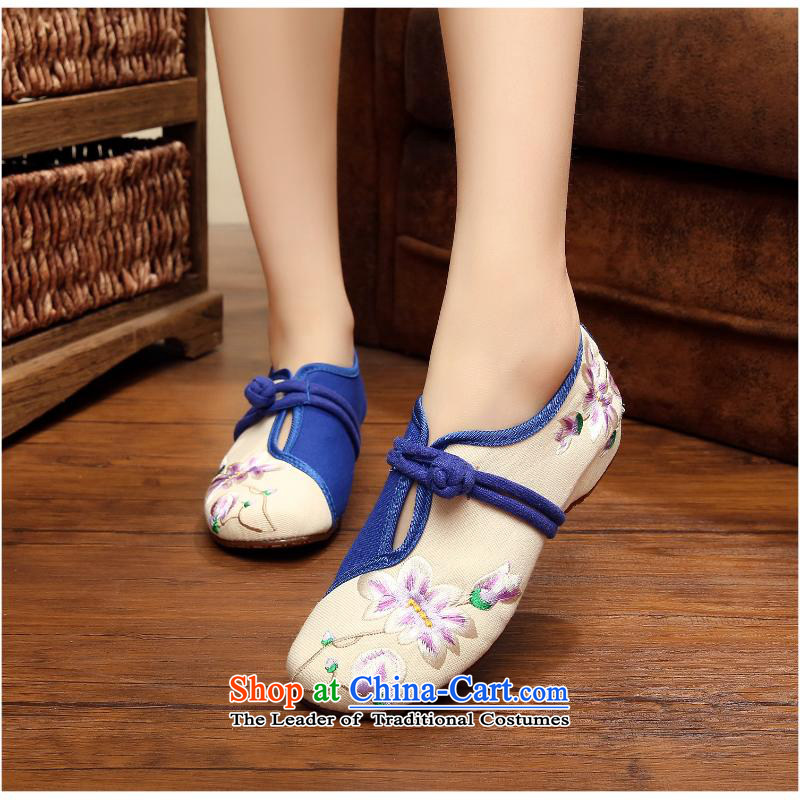2015 Autumn and winter fresh new arts van embroidery old Beijing female mesh upper single shoes, casual foot-spring and autumn wild xhx white38