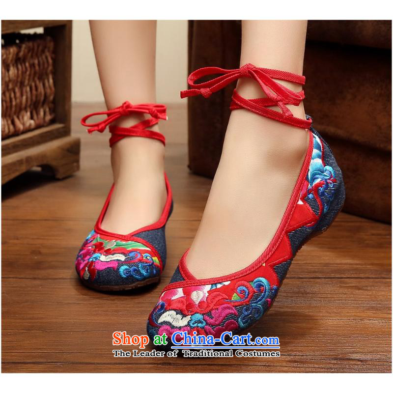 2015 Autumn and winter new triangular flowery curtains of female single shoes spell of ethnic dances mesh upper walking shoes, casual shoes xhx Denim blue40