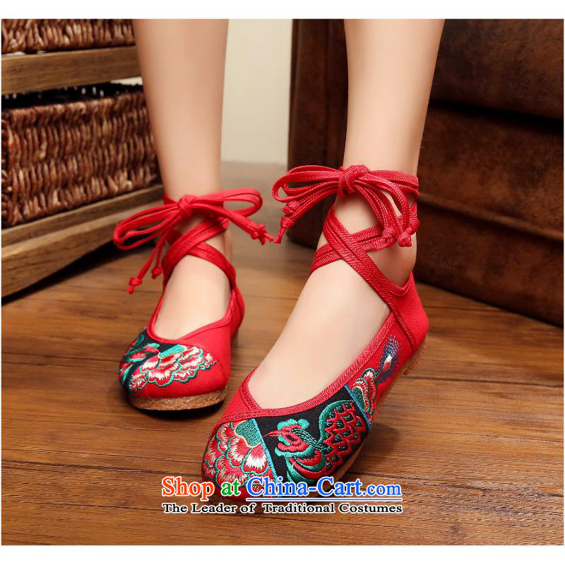 Zhu Yan single shoes 2015 volume can be pure beef tendon soft bottoms of Old Beijing embroidered shoes thick flat girl with red xhx37