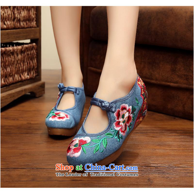 5 cm camellias ethnic old Beijing embroidered shoes women shoes with soft bottoms slope Oxford increased within the shoes xhx Red40