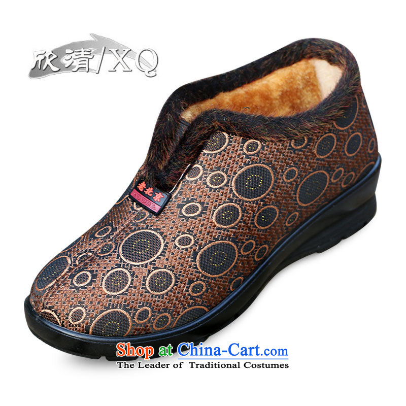 Yan Ching winter new old Beijing in older warm cotton shoes mother shoe grandma cotton shoes anti-slip filial elderly shoes ankle shoes聽W106聽Red聽Curry color聽38 35