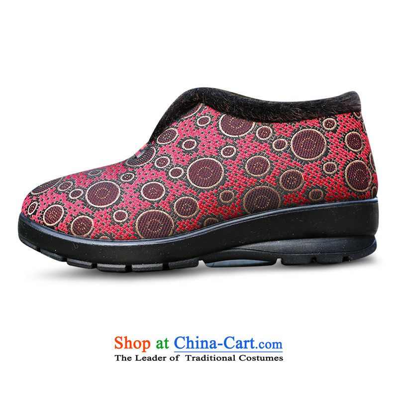 Yan Ching winter new old Beijing in older warm cotton shoes mother shoe grandma cotton shoes anti-slip filial elderly shoes ankle shoes W106 Red Curry color 38, 35 Yan Ching shopping on the Internet has been pressed.
