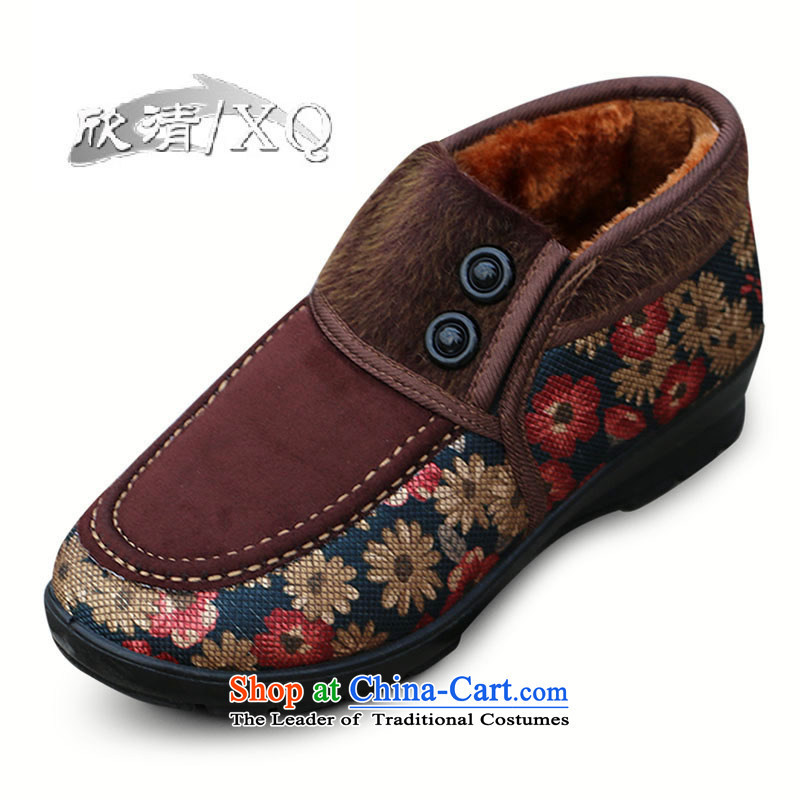Yan Ching winter old Beijing women in older thick mother mesh upper cotton shoes elderly plus lint-free Warm shoe grandma W110 W110 Red 35 W112 coffee color 40