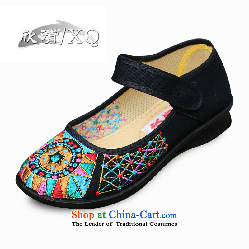 Yan fresh, Old Beijing mesh upper female retro ethnic embroidered shoes with soft shoes bottom click Dance Shoe motherL210 shoesred35Black40