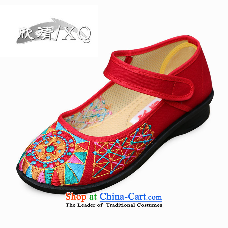 Yan fresh, Old Beijing mesh upper female retro ethnic embroidered shoes with soft shoes bottom click Dance Shoe mother L210 shoes red 35 Red 37
