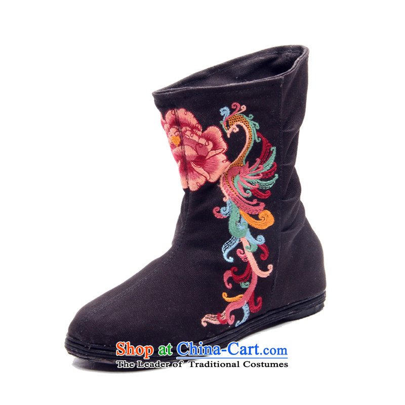 Performing Arts, a trendy new 2015 embroidered shoes of Old Beijing mesh upper flat bottom sleeve cotton short-haired girl L-18 boots black38