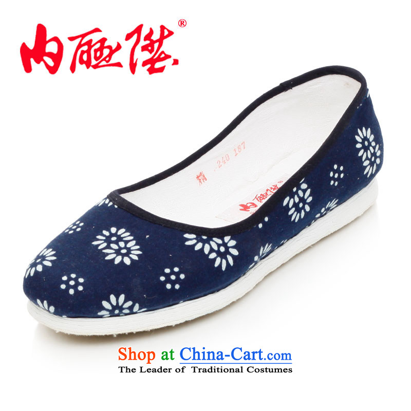 Inline l women shoes mesh upper hand bottom thousands of encryption batik sea RMB Female shoe is smart casual old Beijing 8259A mesh upper blue white flowers 36
