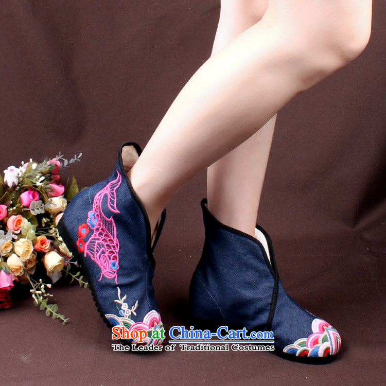 15 autumn and winter new women's national wind embroidered shoes of Old Beijing rubber sole increased with short of barrel then boots green (small semi-code) 37 pictures, prices, brand platters! The elections are supplied in the national character of distribution, so action, buy now enjoy more preferential! As soon as possible.