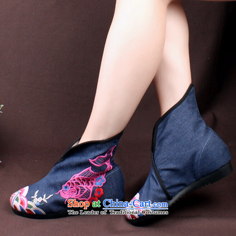15 autumn and winter new women's national wind embroidered shoes of Old Beijing rubber sole increased with short of barrel then boots green (small) Code 37, half of the world has been pressed chin shopping on the Internet