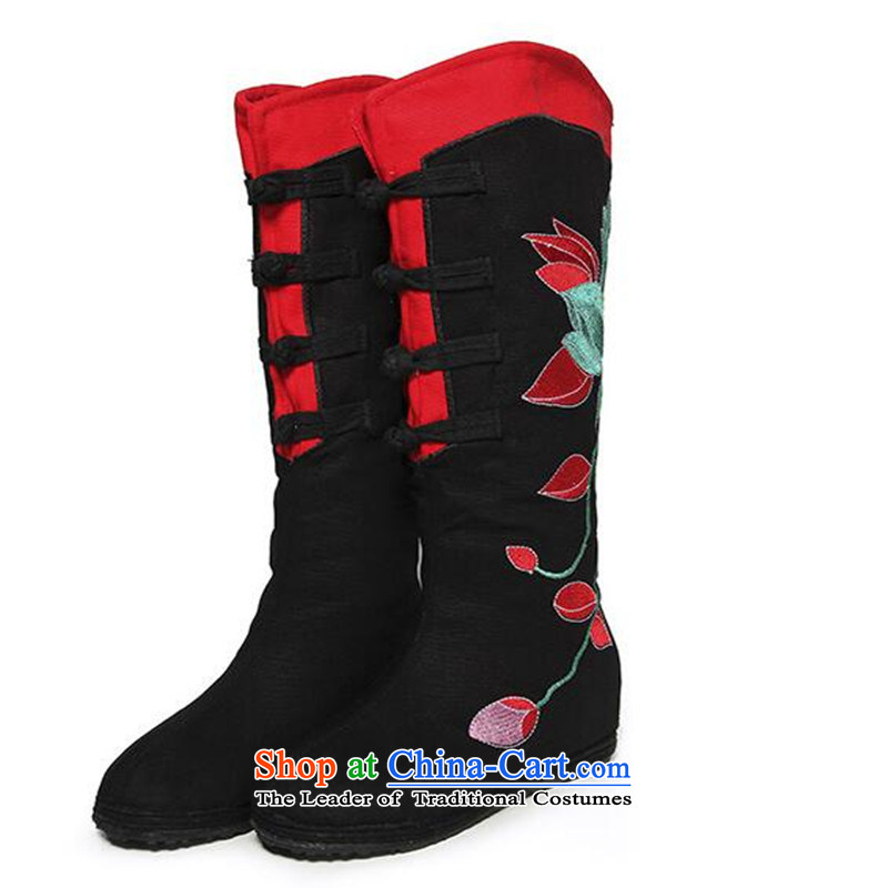 15 For the autumn and winter, and boots the old Beijing mesh upper female cotton shoe retro sheikhs wind embroidered shoes embroidered boots then boots black cotton boots 37