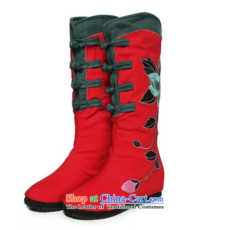 15 For the autumn and winter, and boots the old Beijing mesh upper female cotton shoe retro sheikhs wind embroidered shoes embroidered boots then boots black cotton shoe 37, Chin world shopping on the Internet has been pressed.