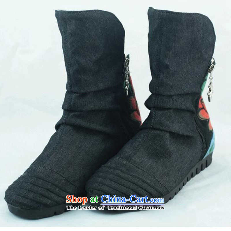 The Fairview Park in the fall of 15 new women's shoe old Beijing mesh upper embroidered shoes and boots zip short side of single black boots 37 increased