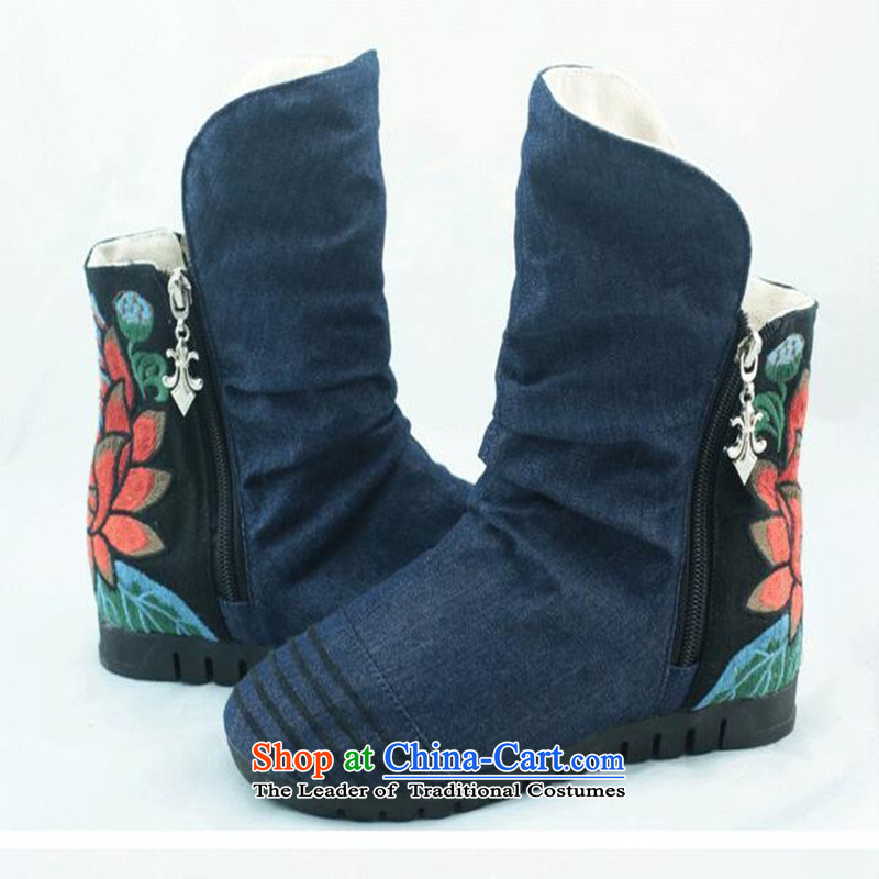 The Fairview Park in the fall of 15 new women's shoe old Beijing mesh upper embroidered shoes and boots zip short side of single black boots 37, increased world chin shopping on the Internet has been pressed.