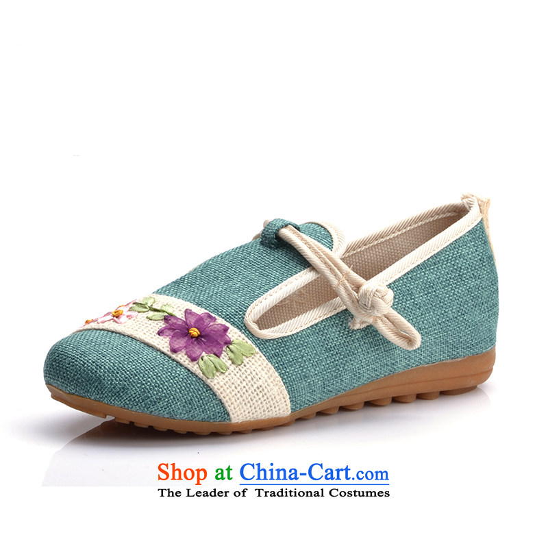 In spring and summer 16 years old Beijing New mesh upper for women of ethnic embroidered shoes with fine linen flat bottom single shoe Green 35