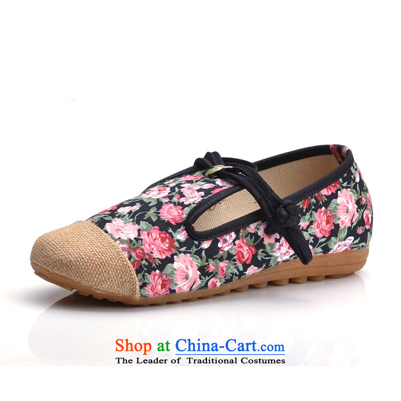 In the summer and autumn new women's shoe genuine old Beijing mesh upper ethnic embroidered shoes flat bottom mother with black shoes slope 35