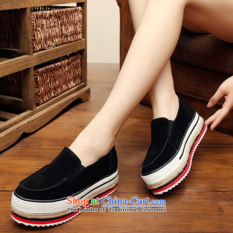 The autumn 2015 new thick platform shoes mesh upper England retro single shoes, casual women shoes preppy white shoes -DNR168QC black  39