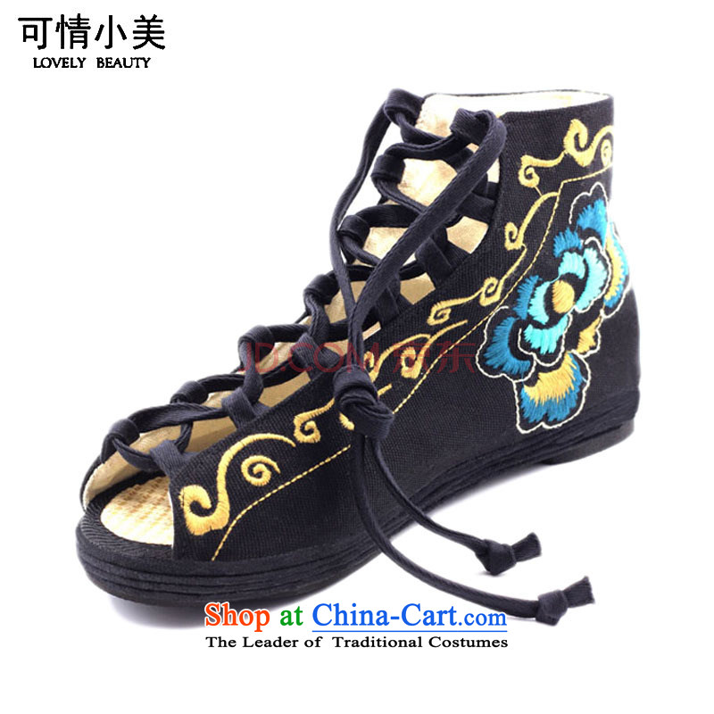 Is small and the ethnic straps female sandals cotton thousands ground embroidered shoes ZCA012 black 36