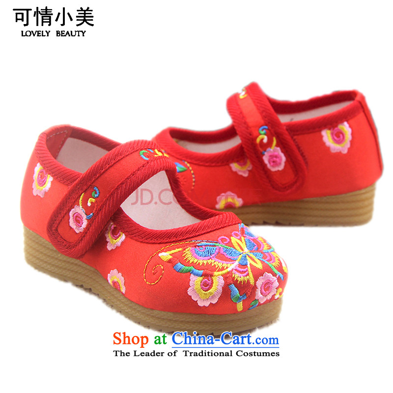 Is small and the embroidery thick beef tendon of ethnic children shoes聽ZCA020聽Red聽19