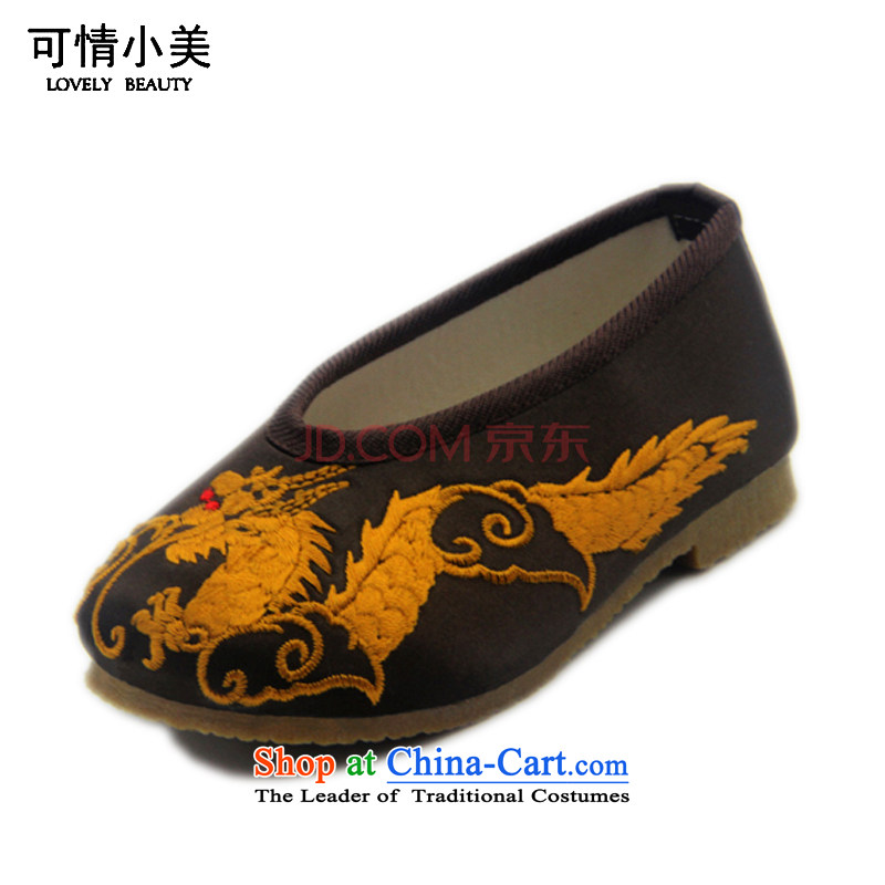 Is small and the ethnic embroidered shoes bottom beef tendon boy of Old Beijing ZCA01 mesh upper Red 15